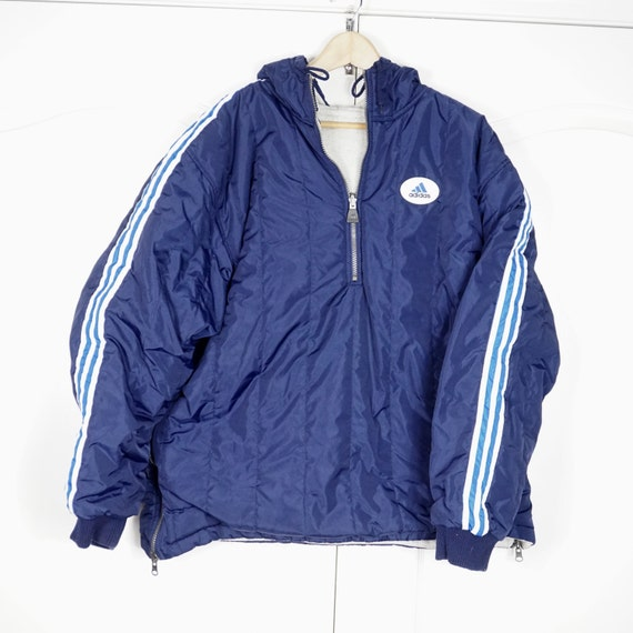 Vintage Adidas 90s reversible Jacket pullover Size Large L Vintage Adidas Windbreaker, Retro 90's Colorblock Fashion Jacket, Fashion for Men