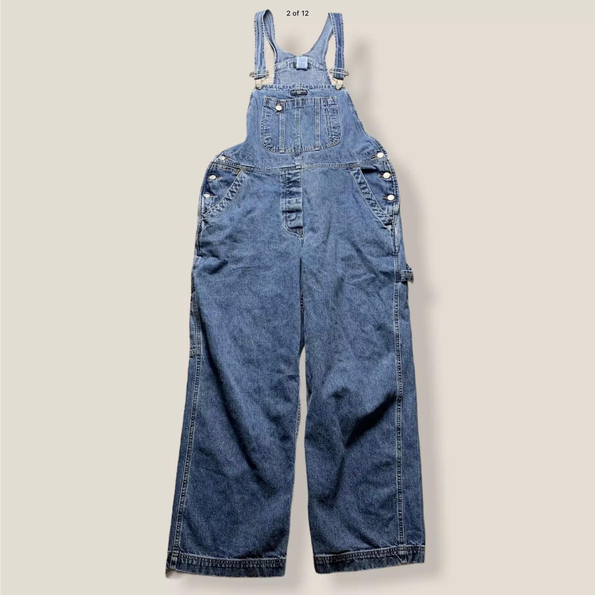Vintage Overalls & Jumpsuits Vintage Ralph Lauren Denim Overalls, Retro Hip Hop Fashion, Size L 1990s Jean Clothing Gift For Men Or Women $35.00 AT vintagedancer.com