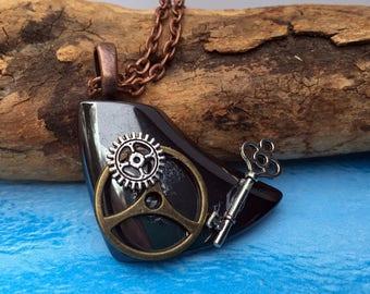 Steampunk Necklace - Hematite Necklace - Key Necklace - Gear Pendant - OOAK Pendant