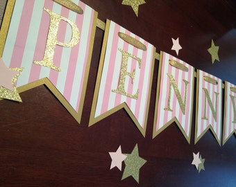 Pink and Gold Banner, Twinkle Twinkle Little Star Banner, Star Banner, Gold Banner