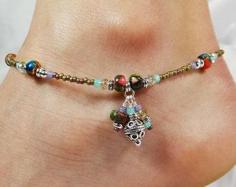 Anklet, Ankle Bracelet, Triple Dangle Anklet, Boho Anklet, Gemstone Anklet, Colorful Anklet, Summer Anklet, Ankle Jewelry, Boho Jewelry