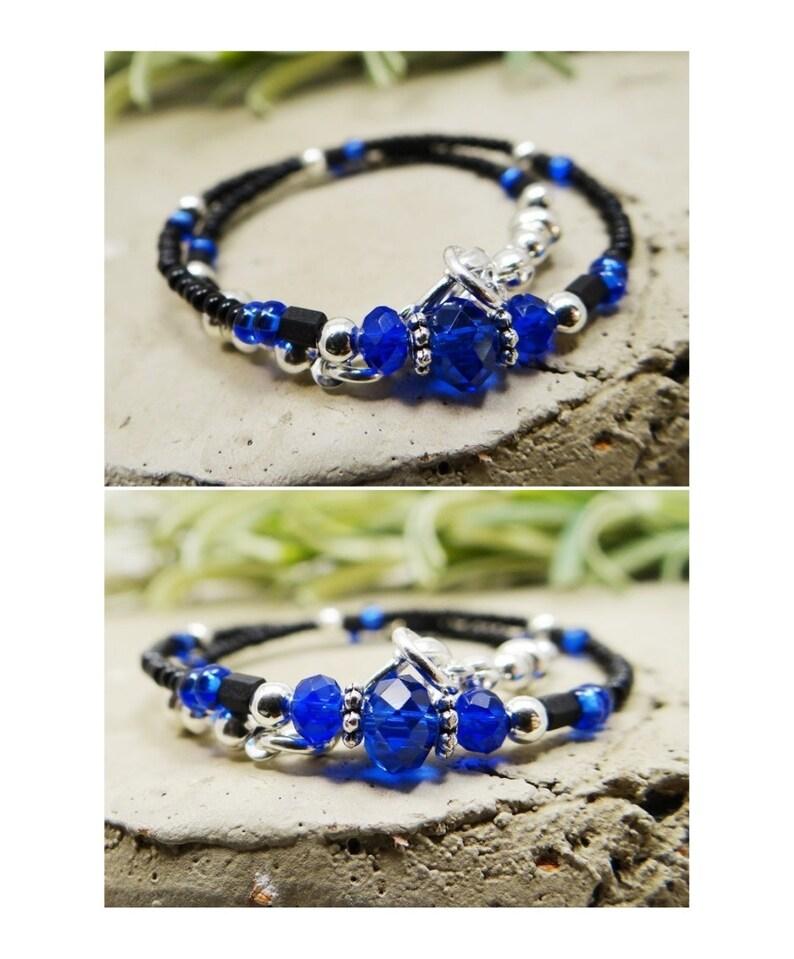 Ankle Bracelet Cobalt Blue Beaded Anklet Crystal Donut Anklet Jet Black Vacation Beach Cruise Minimalist Anklet Blue Anklet Black Anklet