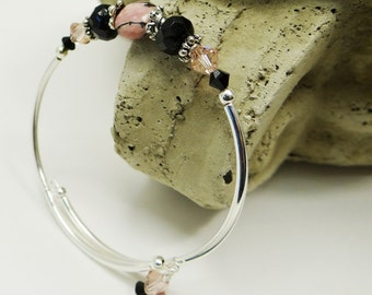 Stacking Bracelet, Bangle Bracelet, Pink Semi Precious Bracelet, Black Bracelet, Crystal Bracelet, Black ad Pink Bracelet, Silver Bracelet