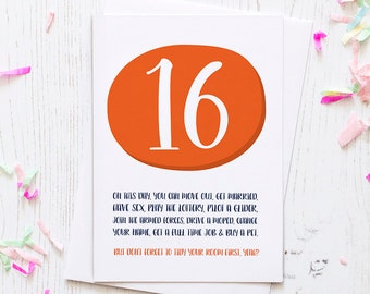 Funny 16th Birthday Card For A Teen Turning Sweet 16 Including The Legalities Of Being Age