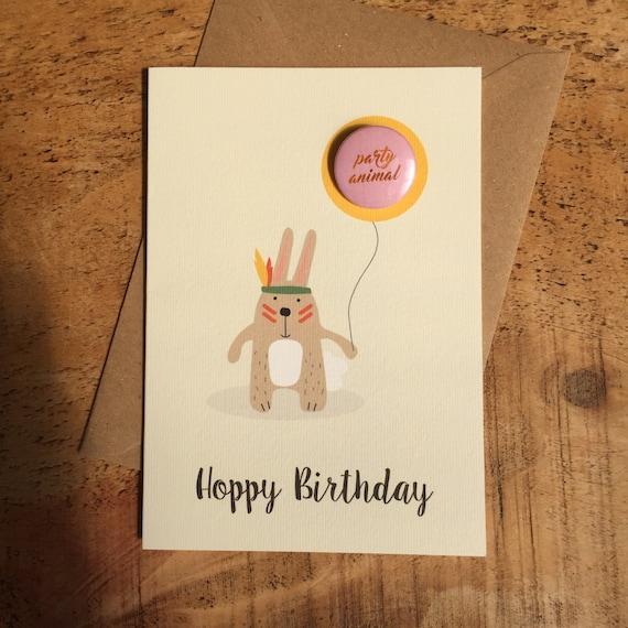 Hoppy Birthday Card Happy Birthday Card Bunny Rabbit Card