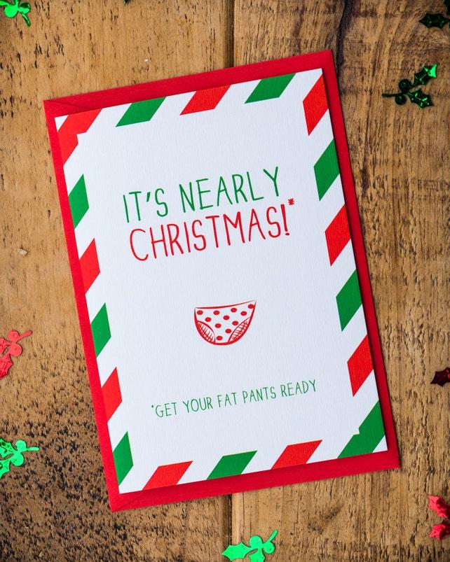 Funny Christmas Card, Fat pants card, honesty Christmas card, Christmas Cards, rude Xmas Card, Christmas Card pack, Christmas card set