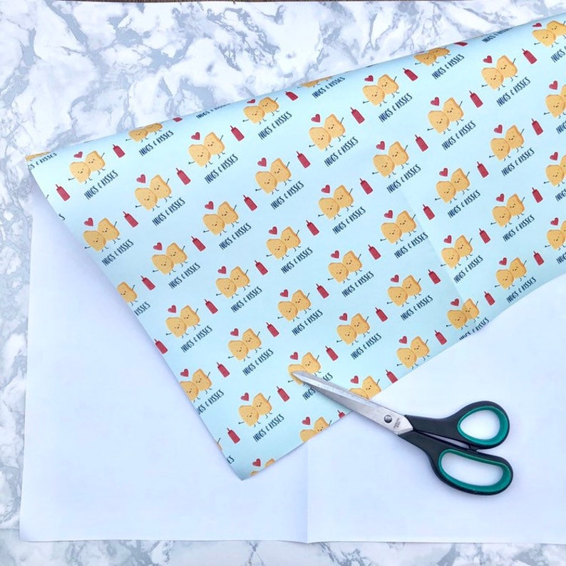 chicken nuggets gift wrap funny nugs and kisses wrapping paper