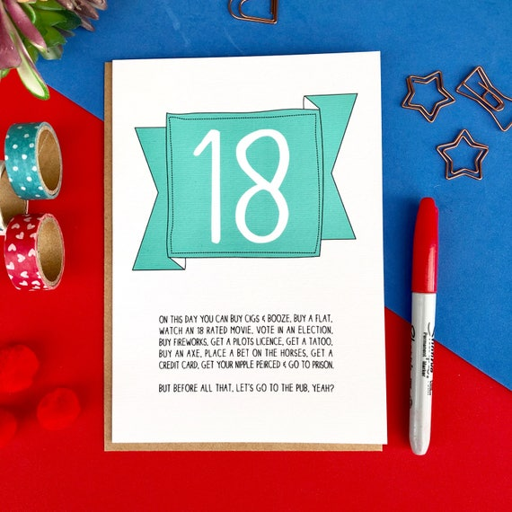 Funny 18th Birthday Card 18 Today On