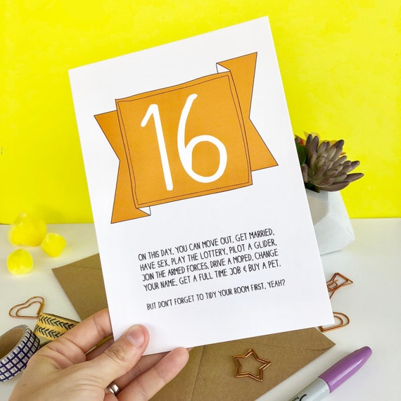 Funny 16th Birthday Card For A Teen Turning Sweet 16 Etsy