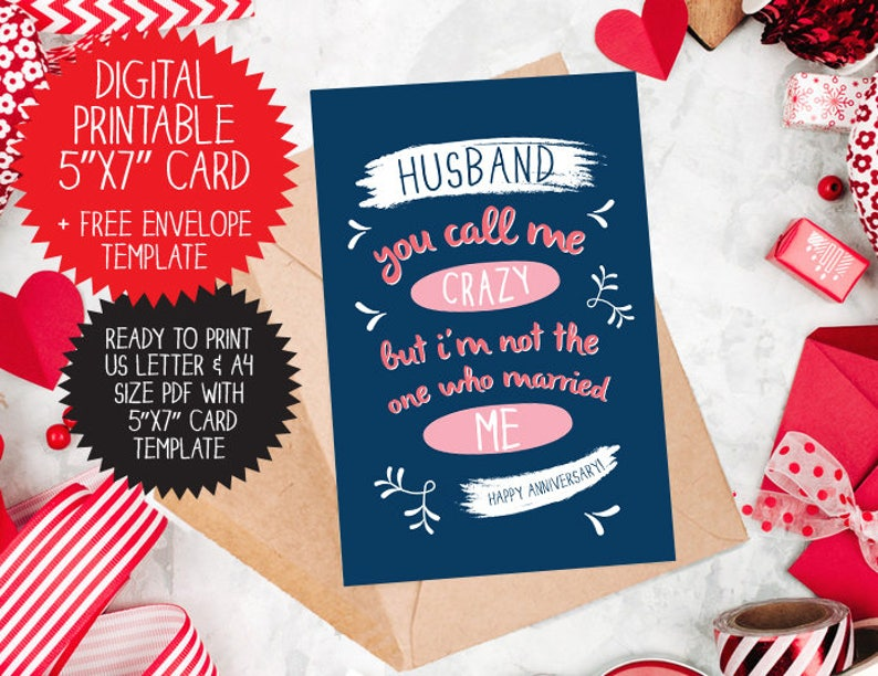 graphic relating to Free Printable Anniversary Cards for Husband identify PRINTABLE Anniversary Card for Partner, humorous Anniversary card, paper anniversary, Anniversary for Him, Joyful Anniversary card