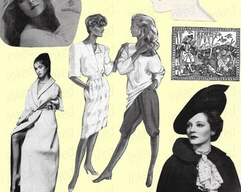 382804e8732bd Digital Women Vintage Art Fashion Hair Styles Beauty Clipart Printable  Collection Digital Sheet Printable Scrapbooking Supply Download