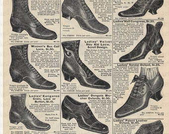 080e94b174b9c Digital Advertising Shoes Ladies Boots Lace-up Shoes Sears 1902 Catalog  Printable Art Download