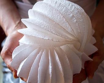 "Paper sculpture , Home decor, White "" Snail"" Desk Paper Lamp, Paper Art  Decoration,  home interior,  organic marine form."