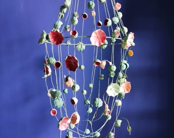 Paper Mache Flowers Decoration , Home decor, Wall decor, wedding decor , Paper  Chandelier,  hanging light sculpture, Art decò,
