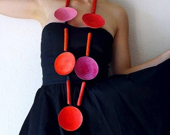"""Paper Necklace,""""Momix"""" Paper mache jewelry, sculpture necklace, Contemporary Necklace, Paper beads, gift for her"""