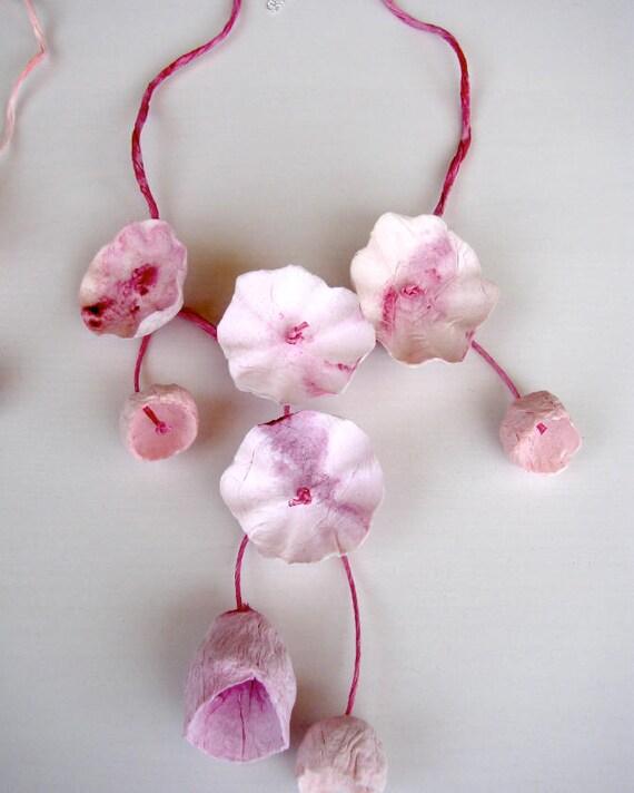 Pink marsala paper flower necklace statement necklace etsy image 0 mightylinksfo