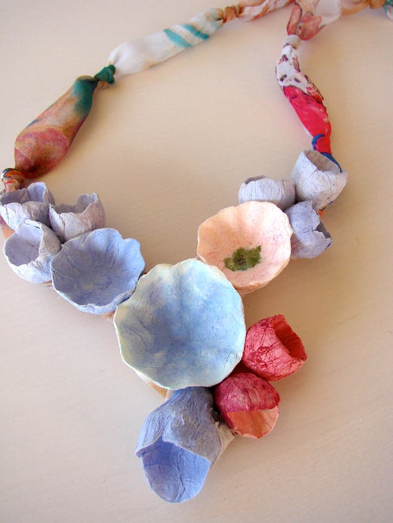 Multicolor statement necklace paper flowers necklace paper etsy image 0 mightylinksfo