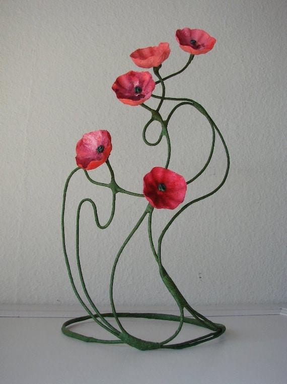 Art Nouveau Style Red Paper Flowers Arrangement Red Flowers Etsy