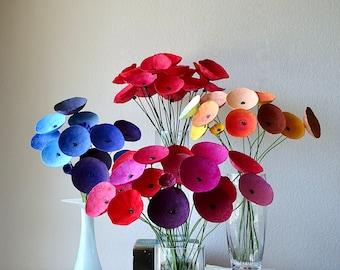 Long Stem Paper Mache Flowers, Flower Arrangement, Home Decoration, 1st wedding anniversary gift for her Modern Centerpieces, Wedding decor