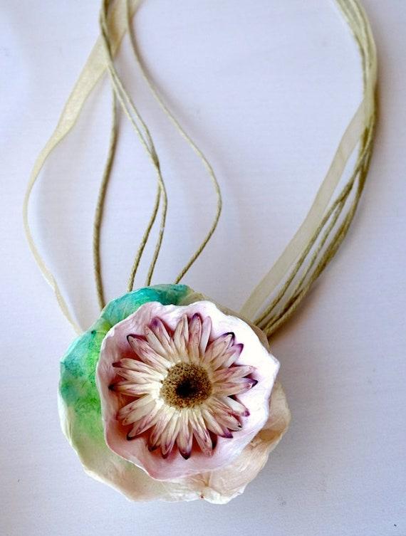 Paper flower necklace paper mache jewelry choker necklace etsy image 0 mightylinksfo