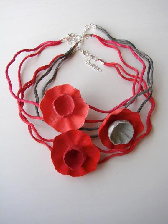Poppy necklace paper flower necklace paper jewelry choker etsy image 0 mightylinksfo
