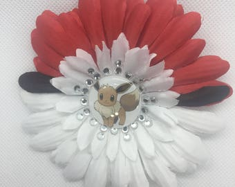 Pokemon Pokeball Flower Hair Clip