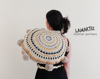 Crochet pattern Boho Mandala Pillows PDF Pattern PomPom Round Hygge Floor Cushion Instructions instant download Home decor US/UK terms