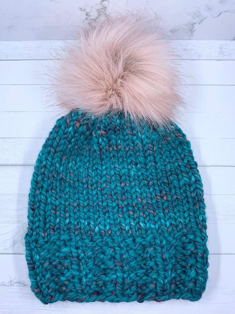 Knit Hat Ready to Ship TEAL Faux Fur Pom Pom Chunky Knit Beanie