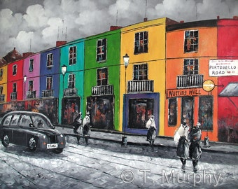 "Original Oil on Canvas Painting, Portobello Road Notting Hill London.  36"" x 24"" Inches"