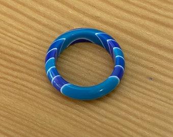 Vintage NOS Blue-Tone Lucite Rings