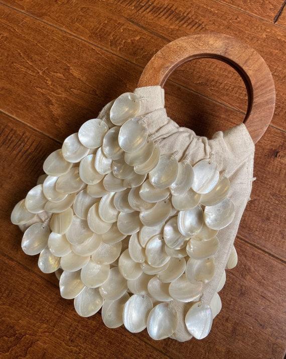 Shell Handbag, Hand Made Purse, Linen Purse, Clam… - image 1