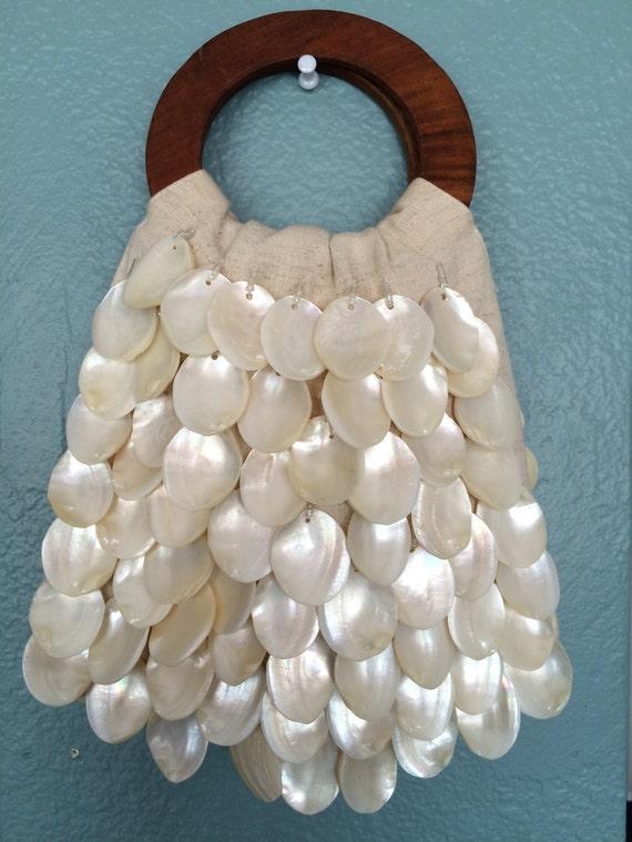 Shell Handbag, Hand Made Purse, Linen Purse, Clam… - image 5