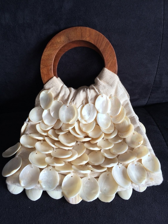 Shell Handbag, Hand Made Purse, Linen Purse, Clam… - image 2