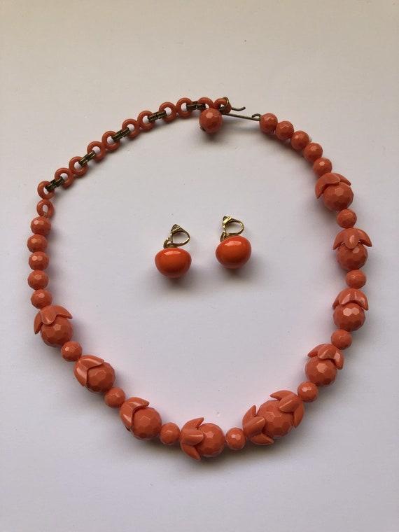 Celluloid Necklace Set, Orange Bead Necklace, Cell