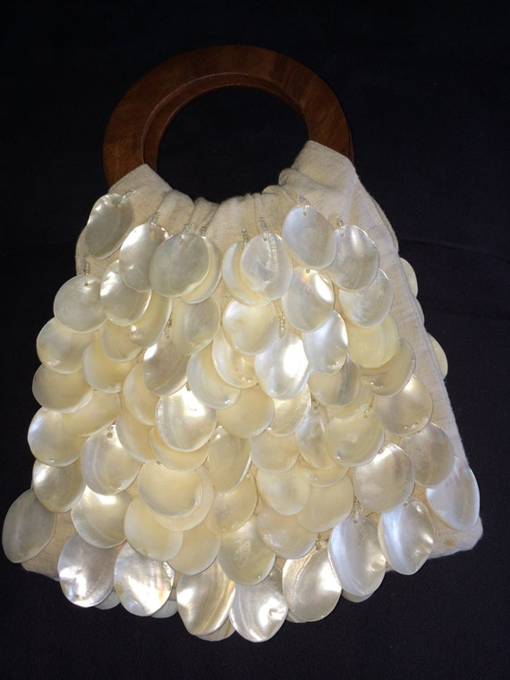 Shell Handbag, Hand Made Purse, Linen Purse, Clam… - image 7
