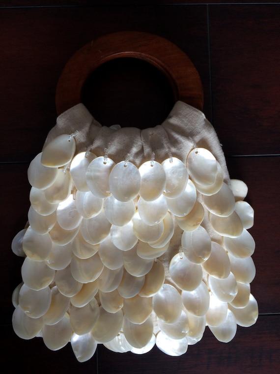 Shell Handbag, Hand Made Purse, Linen Purse, Clam… - image 8