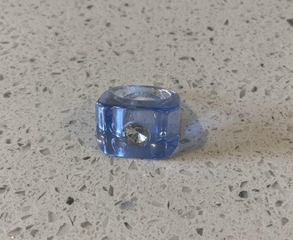 Blue Lucite Ring, Lucite Rhinestone Ring, Mod Blue