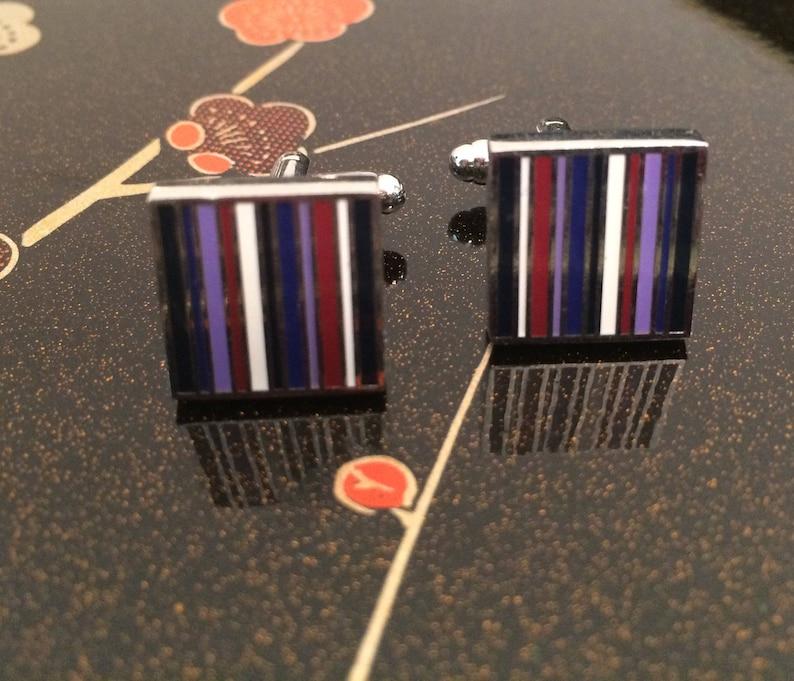 Striped Cuffs Best Man Gift Colorful Mod Cuff Links Square Silver Cuff Links Striped Cuff Links Father/'s Day Gift Silver Cuff Links