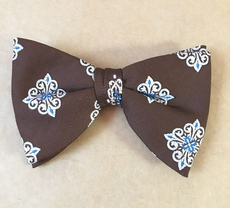 9ecf88e3d811 Vintage Wembley Bow Tie Brown Patterned Bow Tie 1960's | Etsy