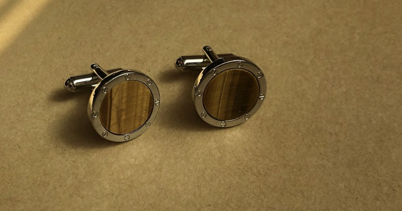 Vintage Cuff Links Gift For Him Tigers Eye Cuff Links Faux Wood Cuff Links Round Silver Cuff Links Women/'s Cuff Links,Father/'s Day Gift