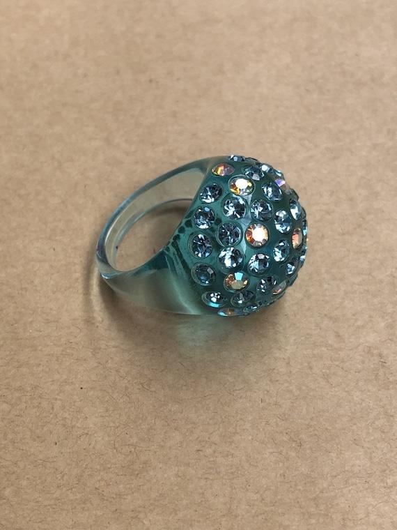 Blue Bubble Ring, Clear Lucite Ring, Rhinestone Ri