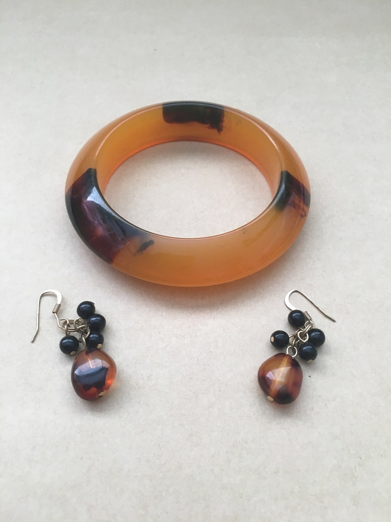 Lucite Jewelry Set Amber Lucite Bangle Lucite Bead Earrings Mod Jewelry Set Chunky Cloud Bangle Tortoise Lucite Set Gift For Her
