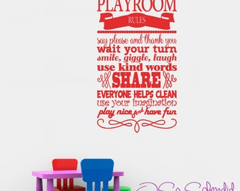 Playroom Rules vinyl wall decal - bedroom - wall decor - sticker - Any Color