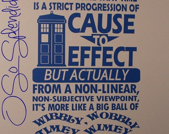 """Doctor Who Inspired Large Wall Vinyl Decal - """"People assume that time..."""" with TARDIS and Doctor's Name in Gallifreyan - Timey Wimey Sticker"""