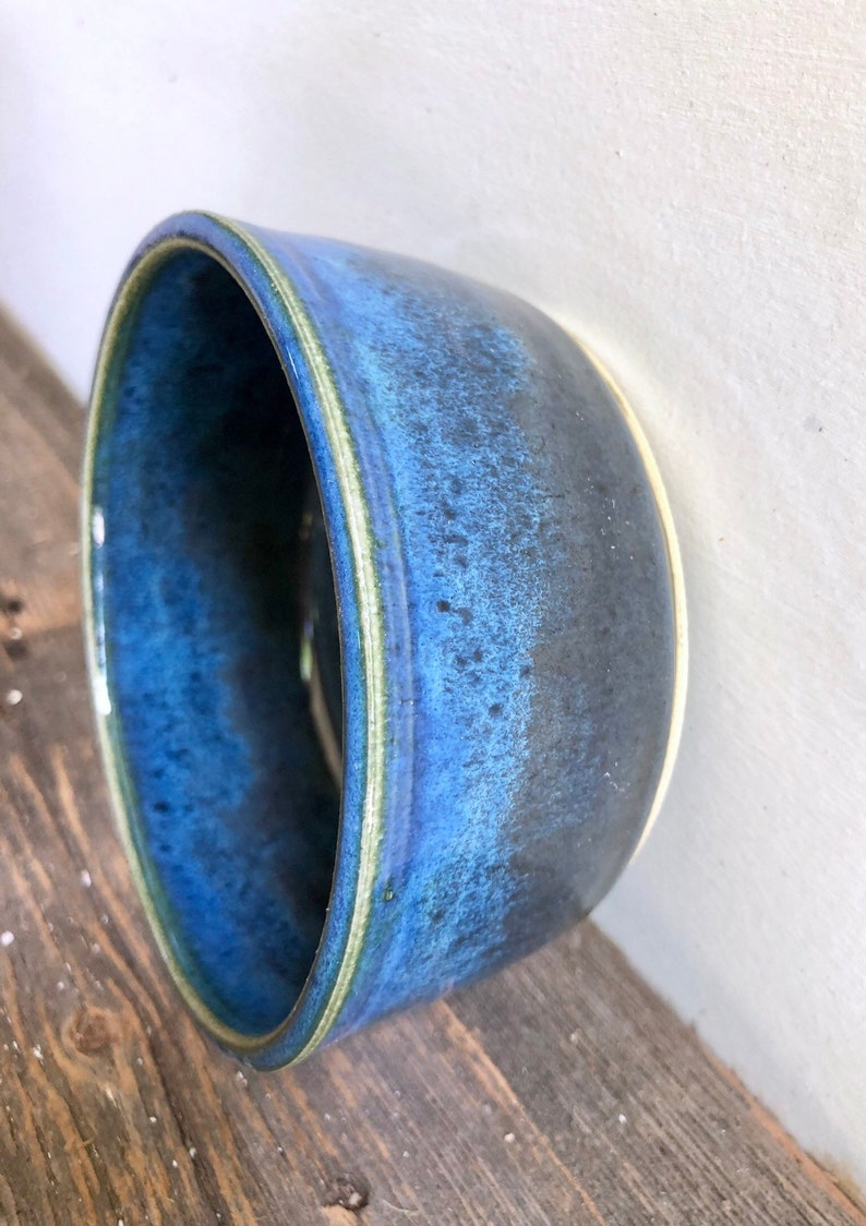 Pet bowl for small dog or cat in blue and black