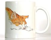 Cat Mug, Orange and White Cat, Includes Custom Text