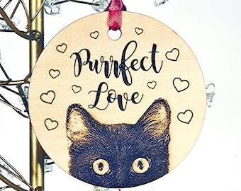 Black Cat Ornament, Custom Cat Wood Christmas Ornament, Choose Cat Color, add personalized text