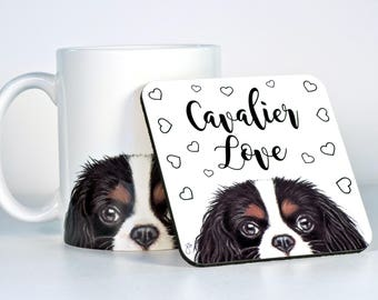 Cavalier King Charles Spaniel Coasters, Choose Cav Color, Add Custom Text of Your Choice