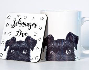 Schnauzer Coasters, Black OR Gray Schnazuer, Add Custom Text of Your Choice