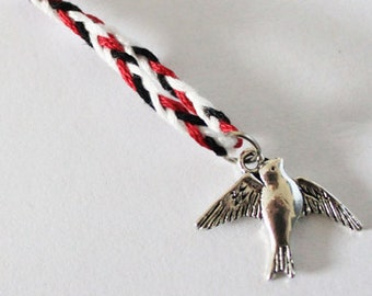 The Raven Boys inspired charm bracelet - Maggie Stiefvater - Bird